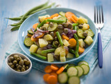 steamed mixed vegetables with capers, selective focus