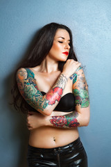 sexy brunette with gorgeous tattoo