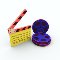 Film and clap board. cinema. 3d isolated