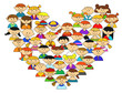 Love heart with childrens