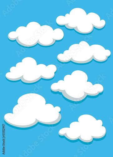 White clouds set on blue sky