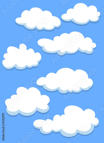 Cartoon white clouds on sky
