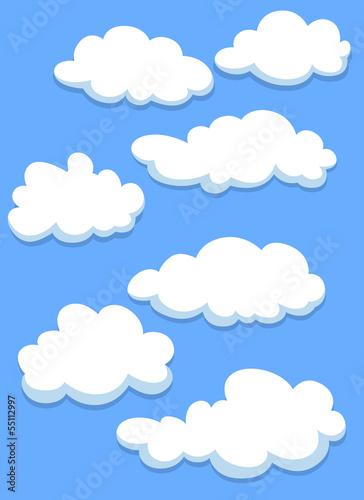 Cartoon white clouds on sky