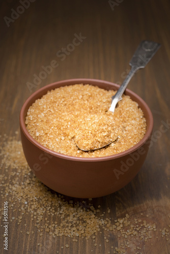 brown sugar in a bowl, selective focus