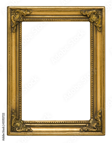 Antique gold vertical picture frame against white
