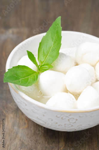 fresh mozzarella and basil in a bowl, close-up