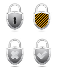 padlock shield icon with symbol