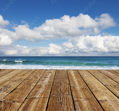canvas print picture Holzsteg am Meer