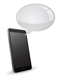 3d smart phone with speech bubble