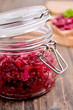Beet caviar in a glass jar