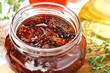 sun dried tomatoes in a glass jar close-up