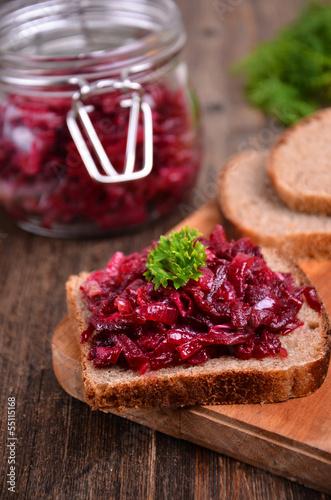 Beet caviar on bread