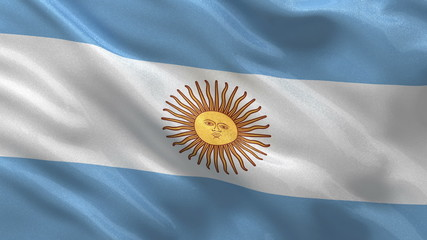 Seamless loop of the Argentinian flag waving in the wind