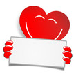 Rotes Herz mit Zettel