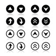 Up and down arrows round icons set