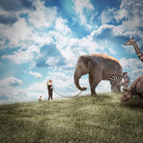 Girl Walking Elephant and Animals in Nature