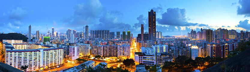 Kowloon downtown night view in Hong Kong