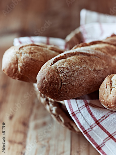 Close up of baguettes in a basket
