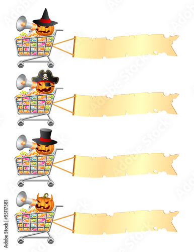 Halloween shoppingcarts and banners