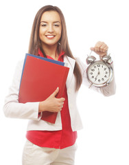 The business woman with an alarm clock