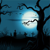 Creepy tree Halloween background with moon and cemetery eps 10