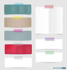 Collection of various note papers, ready for your message. Vecto