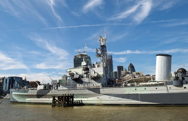 the HMS Belfast on the River Thames, London