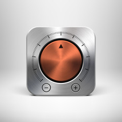 Technology Icon with Metal Textured Knob