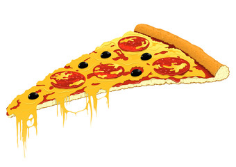 Slice of pizza. Vector illustration.