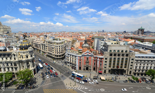 Madrid City Skyline aerial view, Madrid, Spain