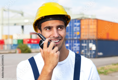 Docker on a seaport talking to a radio device