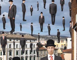 businessmen floating in the sky over european city, magritte sty