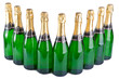 Sparkling wine bottles on a white background