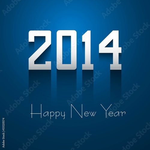 2014 Happy New Year beautiful blue reflection colorful design ve