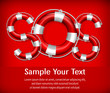 SOS symbol of life buoys on red background, vector illustration