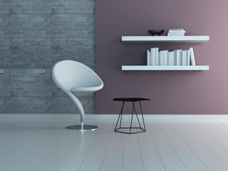 Modern white armchair against stone wall with bookshelf