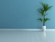 Empty blue room with white parquet and palm plant