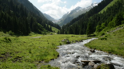 Stream water and landscape of Zillertal Alps