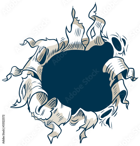 Hole Ripping out of Background Vector Clip Art