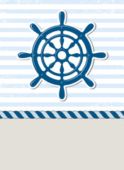 Nautical background with steering wheel, marine card