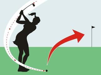 Female golfer in the field