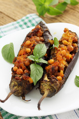 eggplant stuffed with chick-pea