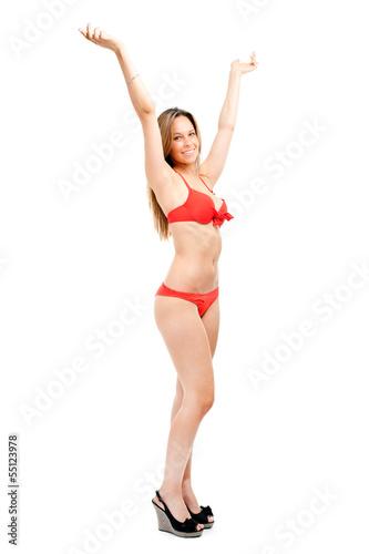 Full length woman in bikini