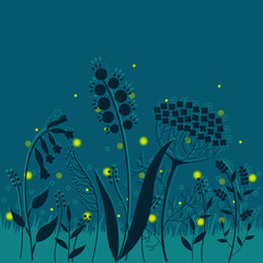 Summer night. Elegant floral background with fireflies.