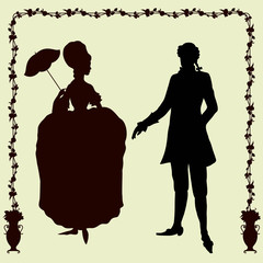 Rococo style historic fashion man and woman silhouettes