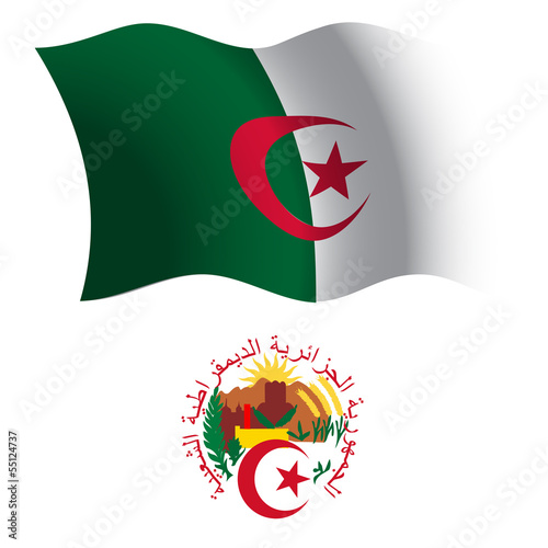 algeria wavy flag and coat