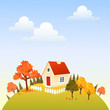 Cute house on autumn hill