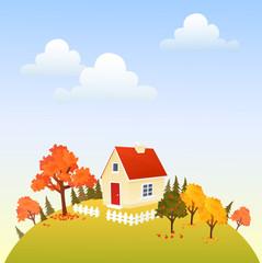Cute house on autumn hill