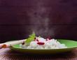 Hot rice with goji