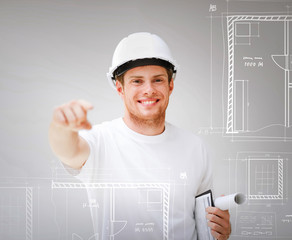 architect with blueprint pointing at you